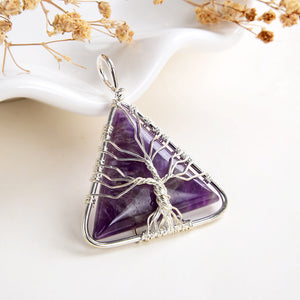 Amethyst Triangle Pendant Rimmed Silver Plated Wire Tree, Medium Size, PND6092AT