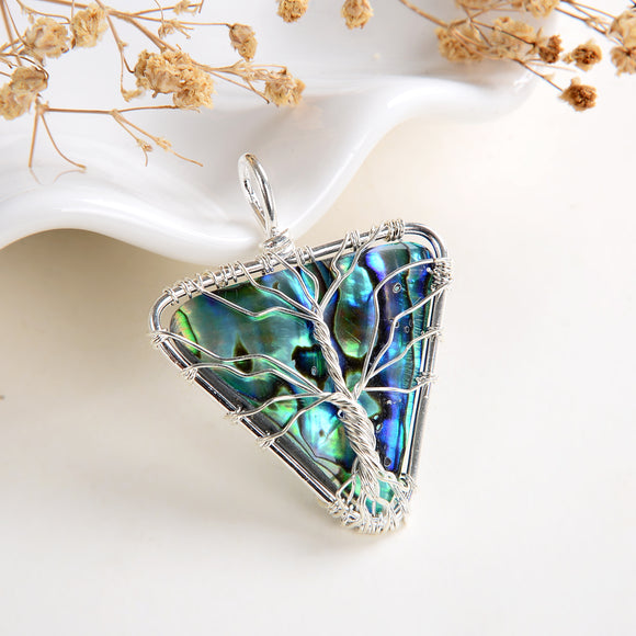 Abalone Paua Inverted Triangle Pendant Rimmed Silver Plated Wire Tree, Medium Size, PND6104AB