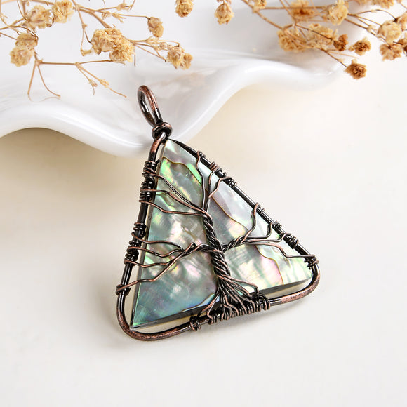 Abalone Paua Triangle Pendant Rimmed Copper Wire Tree, Medium Size, PND6125AB