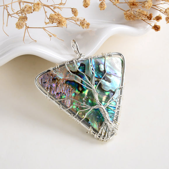 Abalone Paua Inverted Triangle Pendant Rimmed Silver Plated Wire Tree, Large Size, PND6124AB