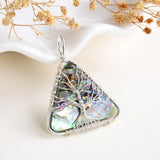 Abalone Paua Triangle Pendant Rimmed Silver Plated Wire Tree, Medium Size, PND6101AB