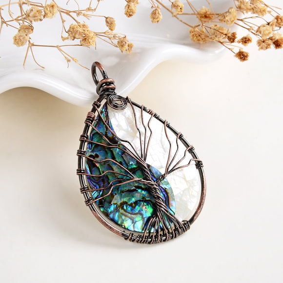 MOP/Abalone Paua Teardrop Pendant Rimmed Copper Wire Tree, Medium Size, PND6100AB