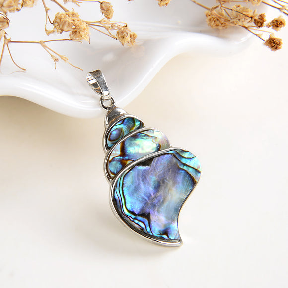 Abalone Paua Conch Pendant Silver Plated Casing&Bail, Small Size, PND6095AB