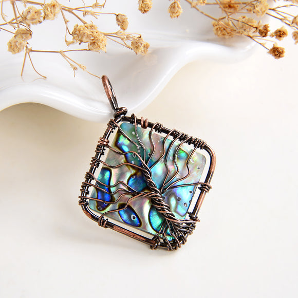 Abalone Paua Diamond Shape Pendant Rimmed Copper Wire Tree, Medium Size, PND6121AB