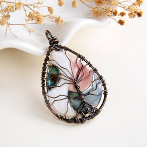 Pink MOP/Abalone Teardrop Pendant Rimmed Copper Wire Tree, Medium Size, PND6102PM