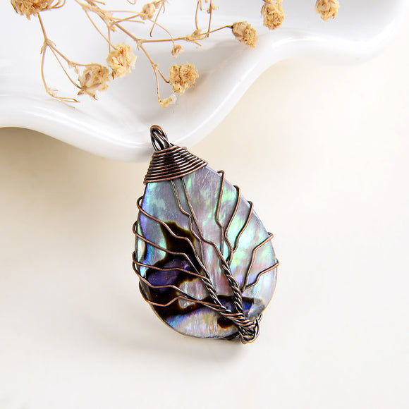 Abalone Paua Teardrop Pendant Copper Wire Tree, Small Size, PND6126AB