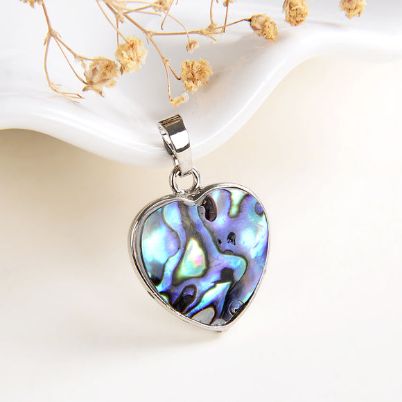 Abalone Paua Heart Pendant Silver Plated Casing&Bail, Small Size, PND6096AB