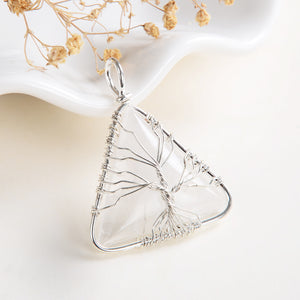 Clear Quartz Triangle Pendant Rimmed Silver Plated Wire Tree, Medium Size, PND6093CQ
