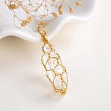 Clear Quartz Raw Crystal Pendant Gold Plated Wire Netted, PND6108CQ