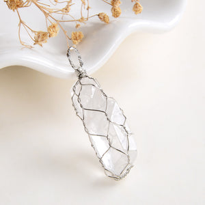 Clear Quartz Raw Crystal Pendant Silver Plated Wire Netted, PND6109CQ