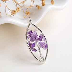 Gemstone Chips Marquise Silver Plated Wire Tree Pendant, Small Size, PND6128XX