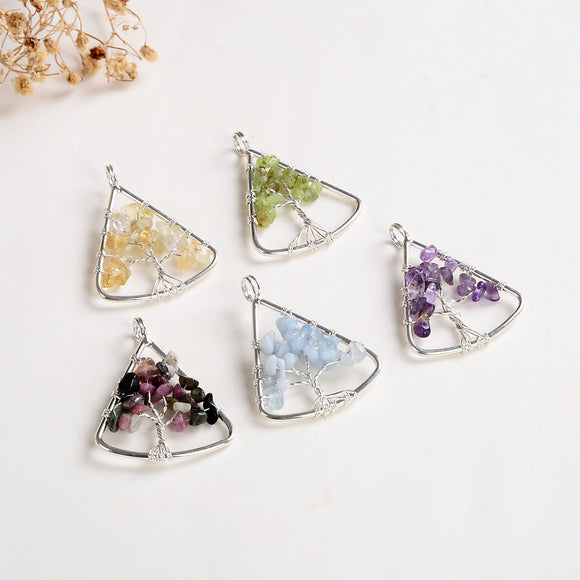 Gemstone Chips Triangle Silver Plated Wire Tree Pendant, Small Size, PND6129XX