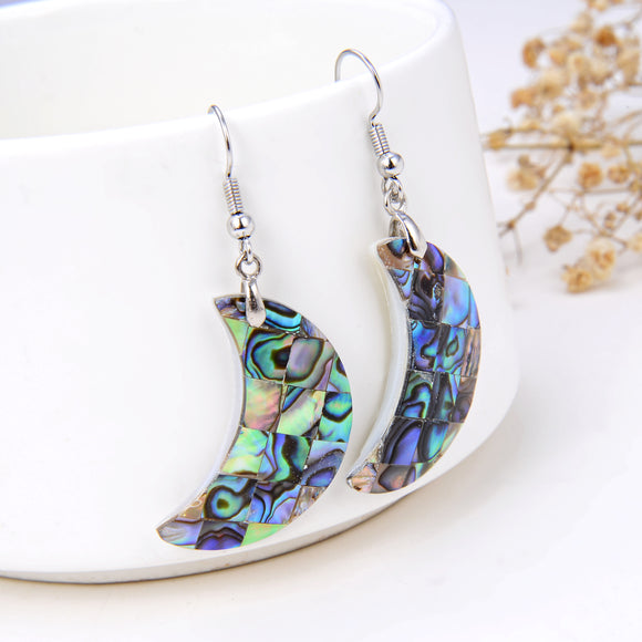 Abalone Paua Mosaic Crescent Moon Pair Of Earrings, ERN1007AB