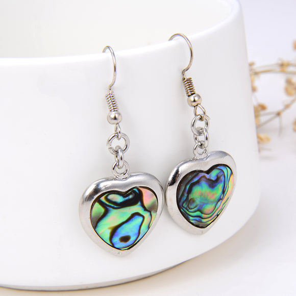 Abalone Paua Heart Earrings With Silver Plated Casings&Hooks, ERN1010AB