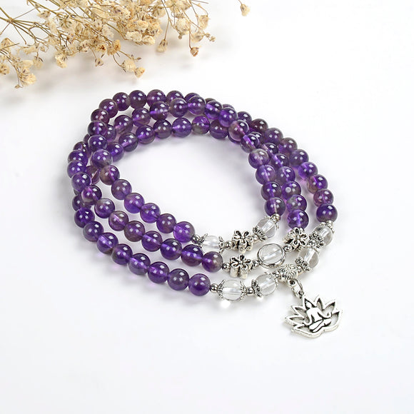Layered Amethyst Bracelet Or Necklace, Buddha In Lotus Charm, BRT2031AT