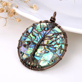 Abalone Paua Round Pendant With Copper Wire Tree, Medium Size, PND4012AB