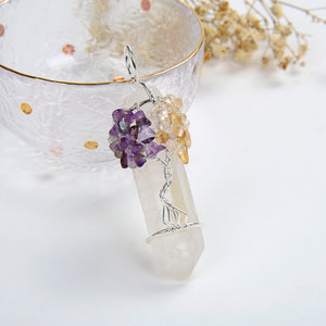 Rock Crystal Pendant Amethyst&Citrine Silver Plated Wire Tree-Of-Life, PND6007AC