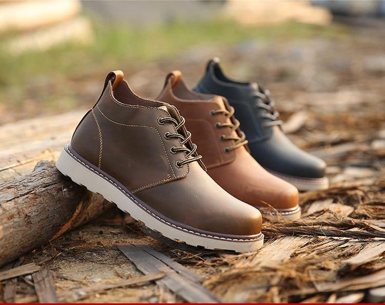 Leather Men Boots Autumn Winter Ankle Boots Fashion