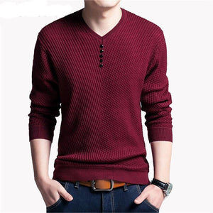 Wool Long Sleeve Shirt Mens Sweaters Knitted Cashmere - soqexpress