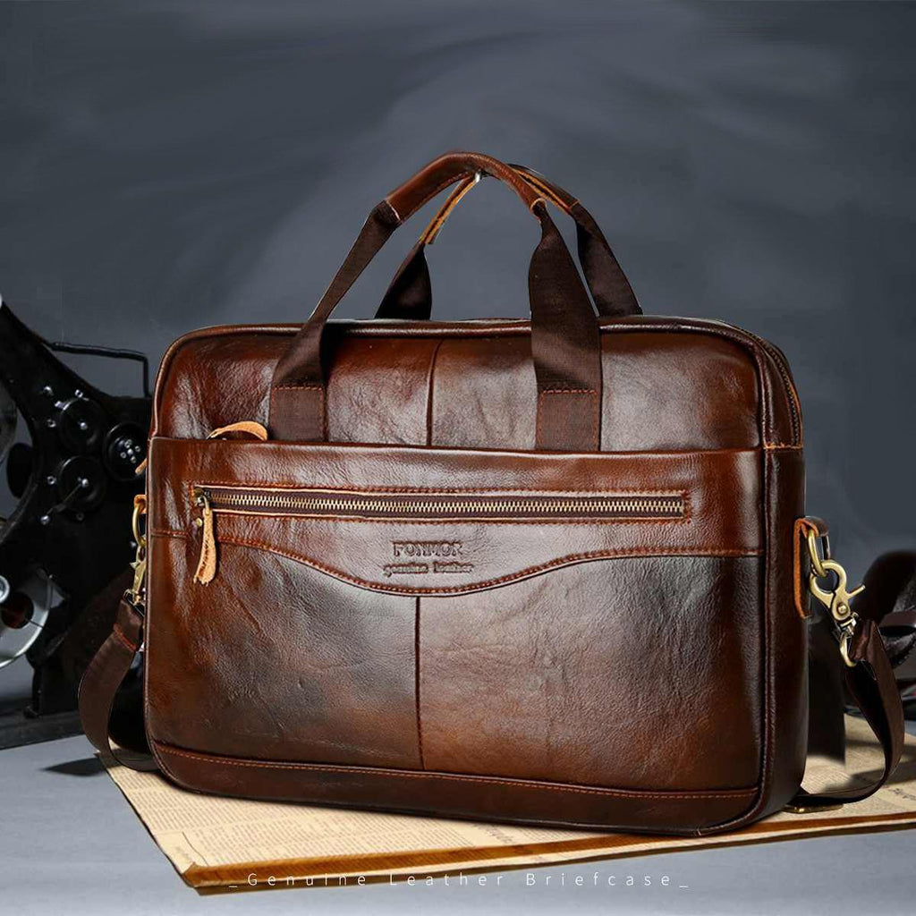 Leather Briefcase Mens Genuine Leather Handbag Crossbody Bag - soqexpress