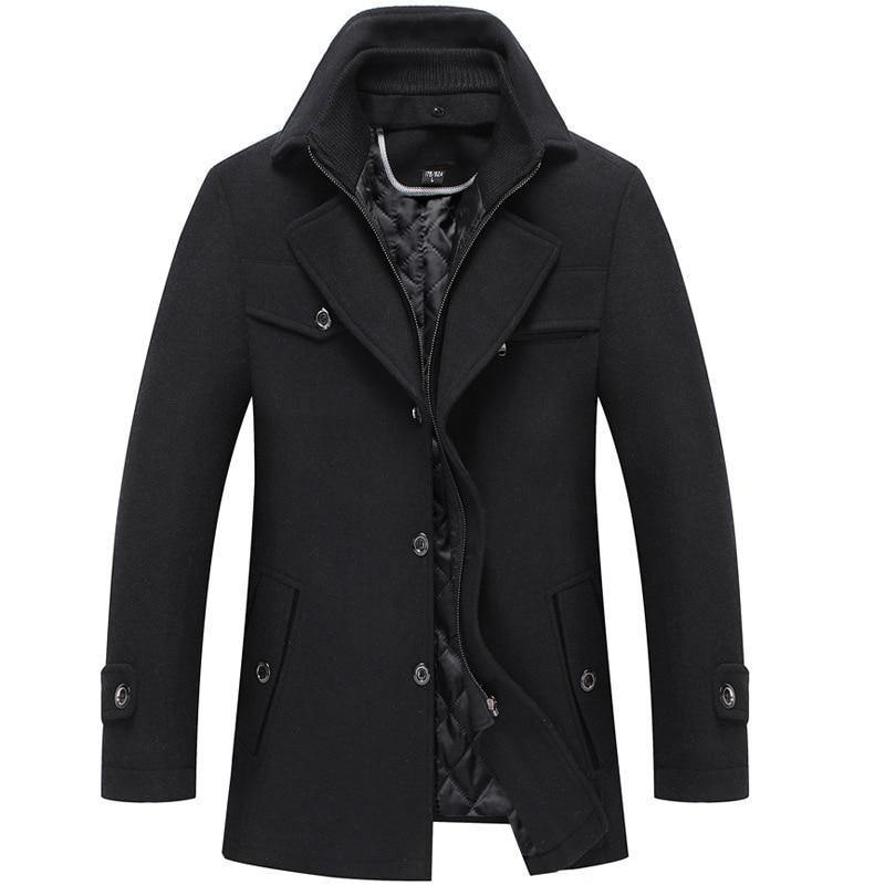 Classic Solid Color Double Collar Thickened Lapel Jacket Men Top
