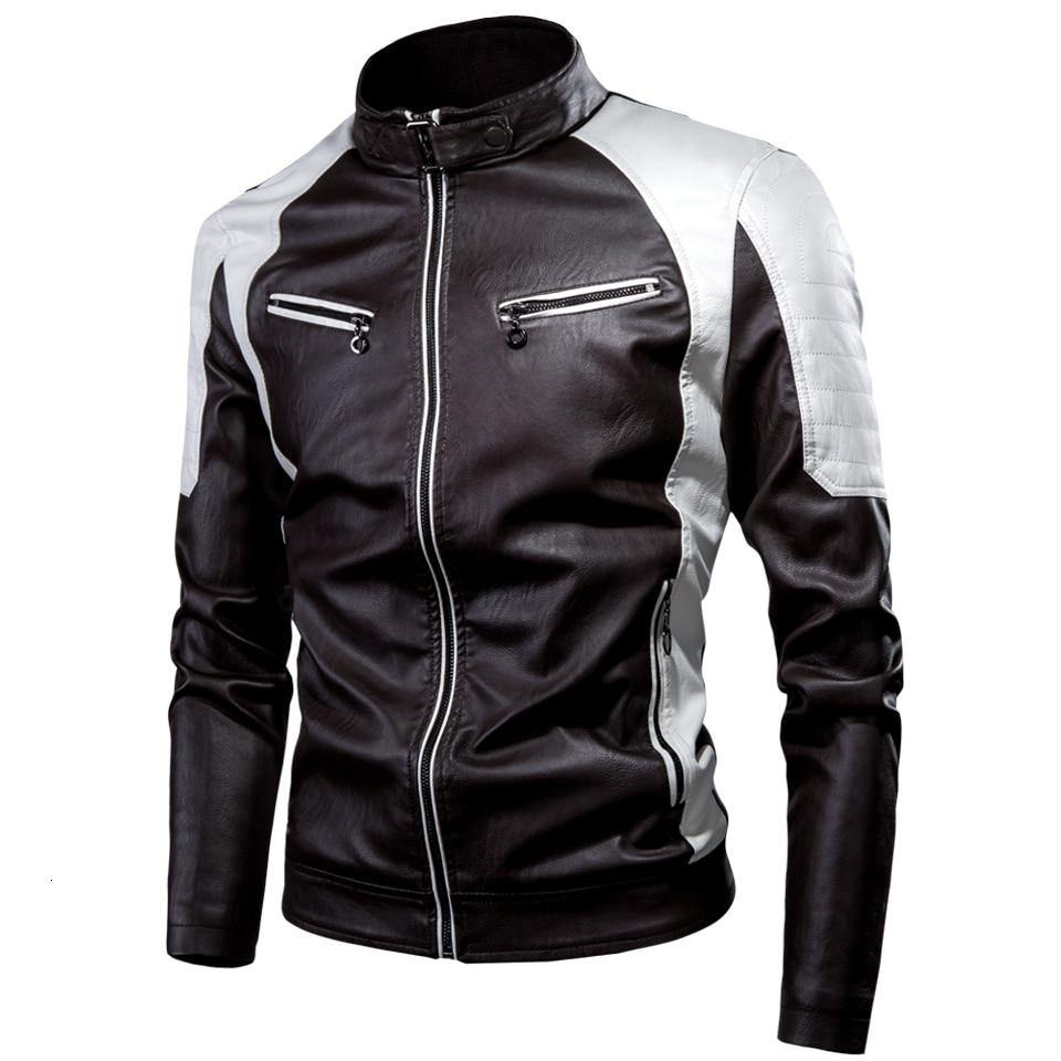 Men's Casual Motor Spliced Fleece Leather Jacket