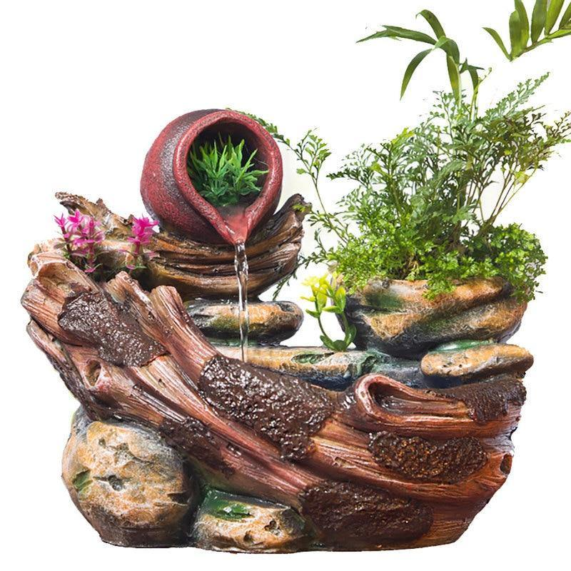 Micro Landscape Indoor Potted Succulents Home Furnishing Rockery Resin Water Fountain - soqexpress