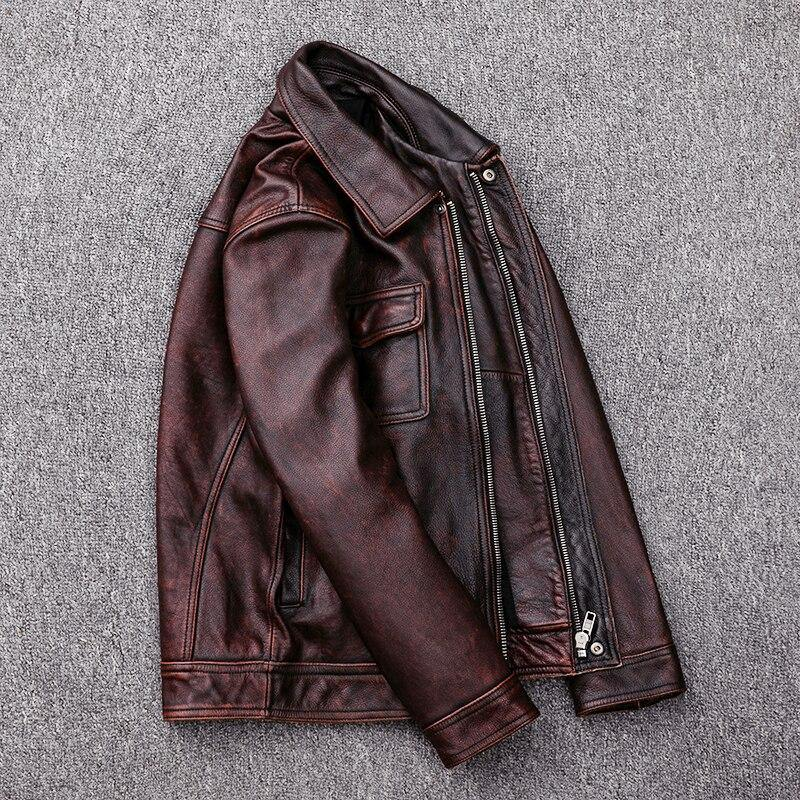 Free DHL Shipping Men's Cow Leather High Quality Genuine Leather Coat