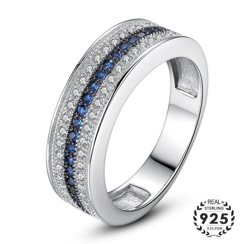 925 Sterling Silver Ring with Round Sapphire Zircon Gemstone