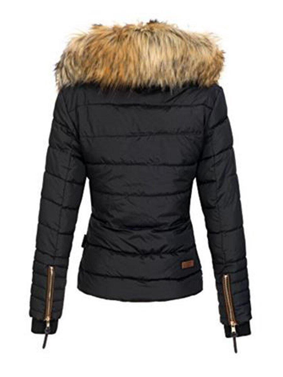 Slim Faux Fur Zipper Women's Jacket