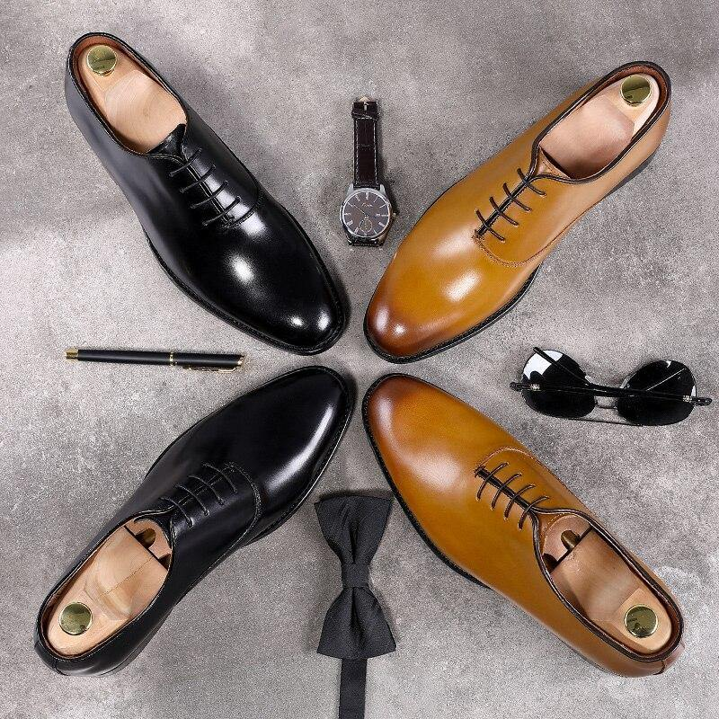 Oxford Handcrafted Men's Genuine Leather Lace up Dress Shoes - soqexpress