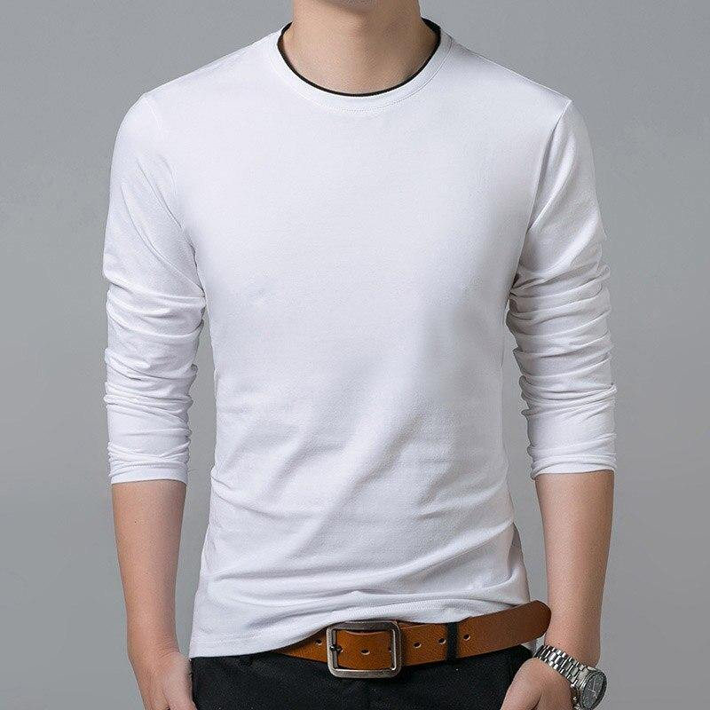 O Neck Solid Color Long Sleeve T-Shirt - soqexpress