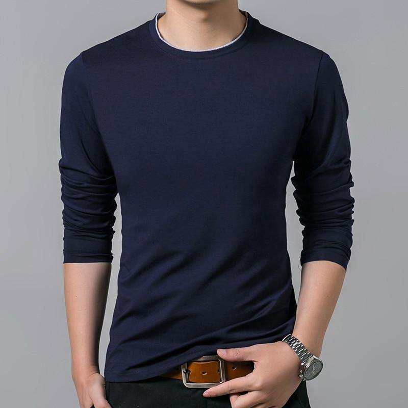 O Neck Solid Color Long Sleeve T-Shirt