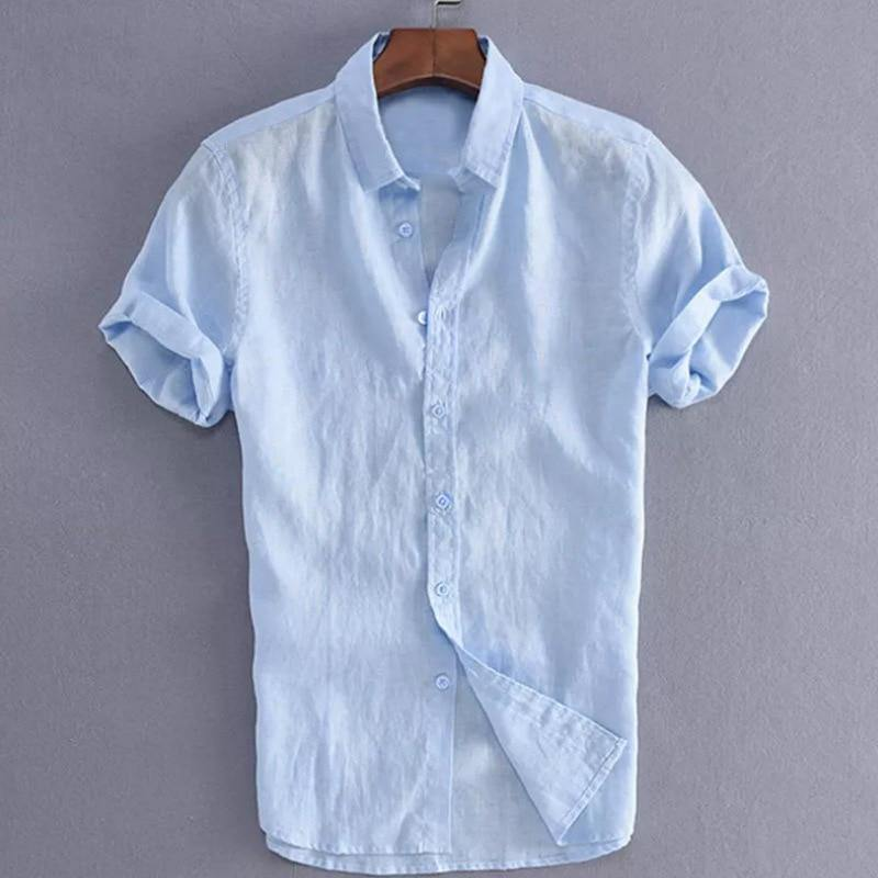 Summer Casual Shirts for Men Short Sleeve Linen cotton