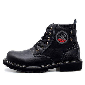Men Genuine Leather Motorcycle Ankle Boots