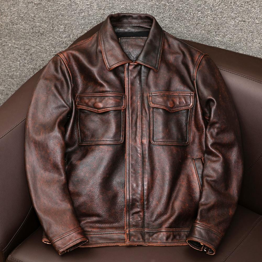 Plus size Genuine leather coat vintage casual leather outwear