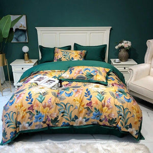 Silky Egyptian cotton Yellow Chinoiserie style Birds Flowers