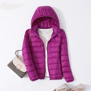 Winter Women Ultralight Thin Down Jacket White Duck Down Hooded Jacket