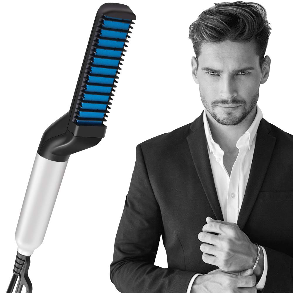 Flatten Side and Beard Straightener Brush Hair Curler Show Cap Quick Hairstyle for Men