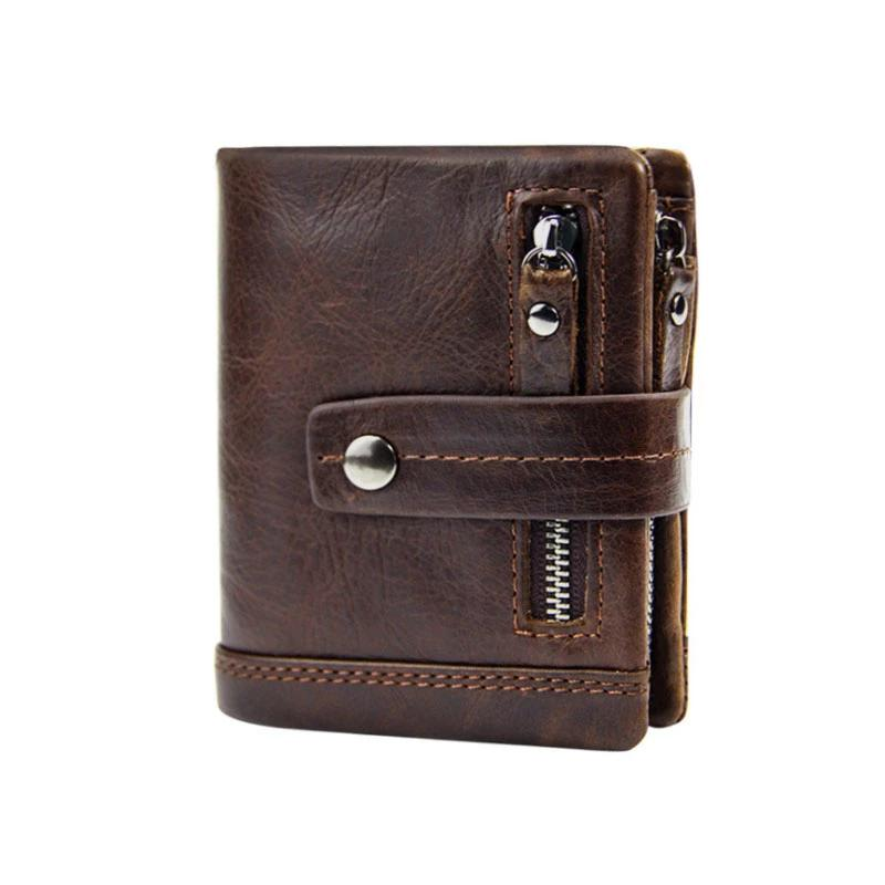 Genuine Leather Men Short Bifold Wallet