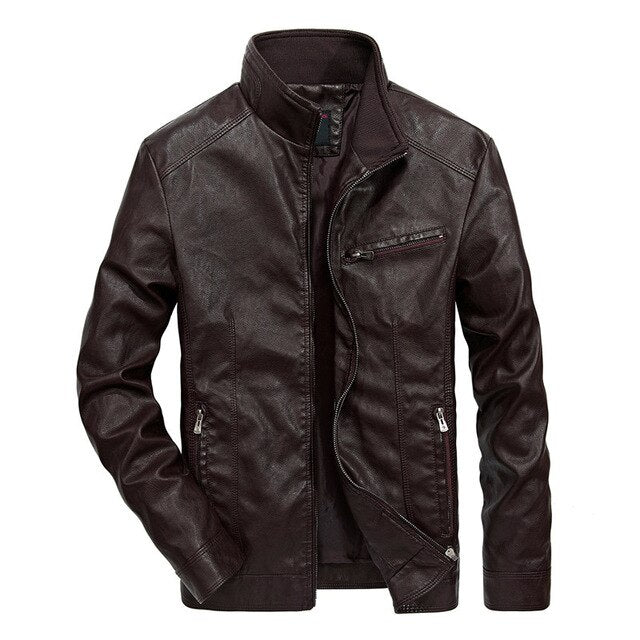 Men's Vintage Stand Collar Pu Leather Jacket