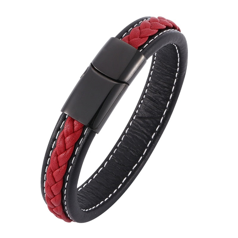 Trendy Mens Bracelets Jewelry Black Red Braided Leather Bracelet Stainless Steel Men Bracelet Jewellery Bangles Male Gift SP0008