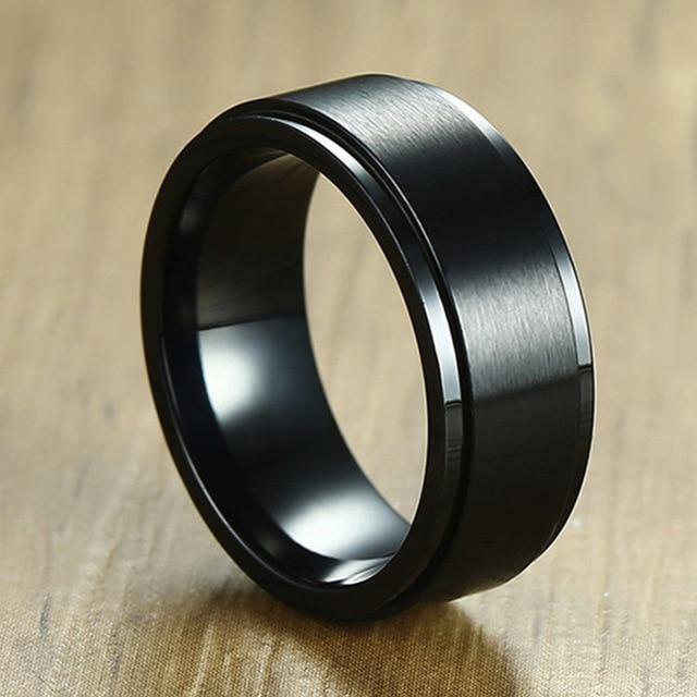 8 mm Rotatable Basic Ring for Men Black Stainless Steel
