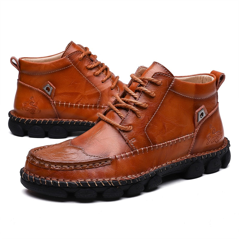 Genuine Leather Spicing Hand Stitching Soft Sole Casual Boots