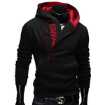 Side Zipper Hoodies Men Cotton Sweatshirt Spring Letter Print Sportswear