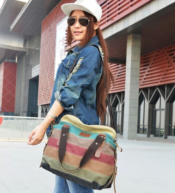 WOMEN CASUAL STRIPE CANVAS HANDBAG