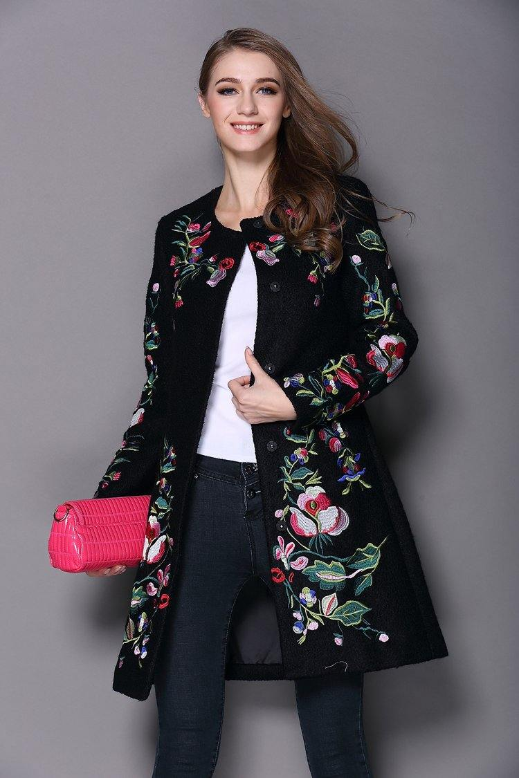 Autumn Winter Long Coat Vintage Embroidery Cashmere Trench