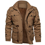 Thick Warm Mens Parka Jacket Winter Fleece Multi-pocket