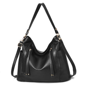 For Women Black Leather Messenger Handbag 2019