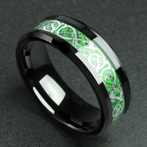 Man Ring Red Green Carbon Fiber Black Dragon Comfort Fit Stainless steel Rings